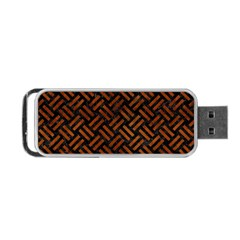 Woven2 Black Marble & Brown Burl Wood Portable Usb Flash (two Sides) by trendistuff