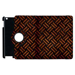 Woven2 Black Marble & Brown Burl Wood Apple Ipad 3/4 Flip 360 Case by trendistuff
