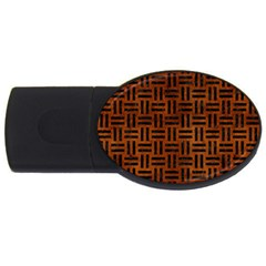 Woven1 Black Marble & Brown Burl Wood (r) Usb Flash Drive Oval (2 Gb) by trendistuff