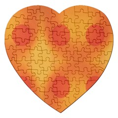 Sunny Happy Orange Dots Jigsaw Puzzle (heart) by yoursparklingshop