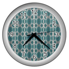 Tropical Blue Abstract Ocean Drops Wall Clocks (silver)