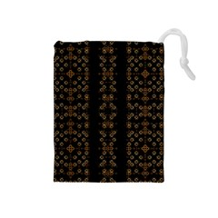 Dark Arabic Stripes Drawstring Pouches (medium)  by dflcprints