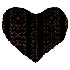 Dark Arabic Stripes Large 19  Premium Flano Heart Shape Cushions by dflcprints