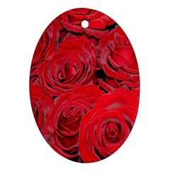 Red Roses Love Ornament (oval)  by yoursparklingshop