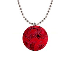Red Roses Love Button Necklaces