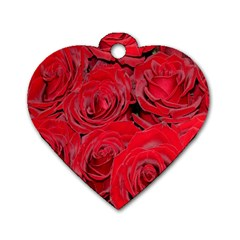 Red Roses Love Dog Tag Heart (two Sides) by yoursparklingshop