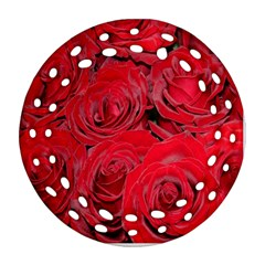 Red Roses Love Ornament (round Filigree)  by yoursparklingshop
