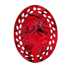 Red Roses Love Ornament (oval Filigree)  by yoursparklingshop