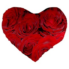 Red Roses Love Large 19  Premium Heart Shape Cushions by yoursparklingshop