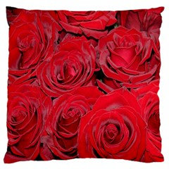 Red Roses Love Large Flano Cushion Case (two Sides) by yoursparklingshop