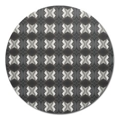 Black White Gray Crosses Magnet 5  (round) by yoursparklingshop