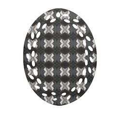 Black White Gray Crosses Oval Filigree Ornament (2 Side)  by yoursparklingshop