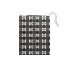 Black White Gray Crosses Drawstring Pouches (small)  by yoursparklingshop