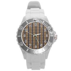 Black Brown Gold Stripes Round Plastic Sport Watch (l) by yoursparklingshop