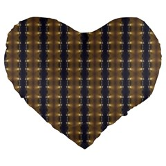 Black Brown Gold Stripes Large 19  Premium Flano Heart Shape Cushions by yoursparklingshop