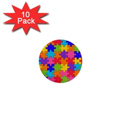 Funny Colorful Jigsaw Puzzle 1  Mini Buttons (10 Pack)  by yoursparklingshop