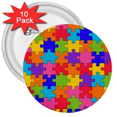 Funny Colorful Jigsaw Puzzle 3  Buttons (10 Pack)  by yoursparklingshop