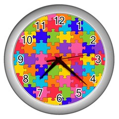 Funny Colorful Jigsaw Puzzle Wall Clocks (silver)  by yoursparklingshop