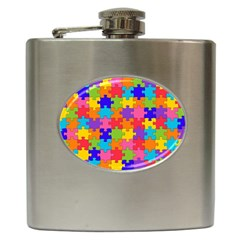 Funny Colorful Jigsaw Puzzle Hip Flask (6 Oz) by yoursparklingshop