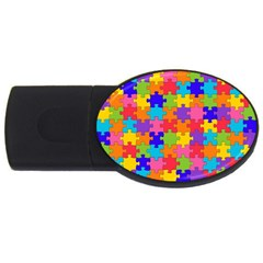 Funny Colorful Jigsaw Puzzle Usb Flash Drive Oval (2 Gb)  by yoursparklingshop