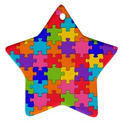 Funny Colorful Jigsaw Puzzle Star Ornament (two Sides)  by yoursparklingshop