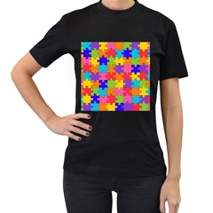 Funny Colorful Jigsaw Puzzle Women s T Shirt (black) by yoursparklingshop