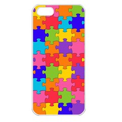 Funny Colorful Jigsaw Puzzle Apple Iphone 5 Seamless Case (white) by yoursparklingshop