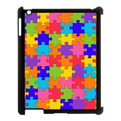 Funny Colorful Jigsaw Puzzle Apple Ipad 3/4 Case (black) by yoursparklingshop