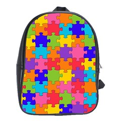 Funny Colorful Jigsaw Puzzle School Bags (xl)  by yoursparklingshop