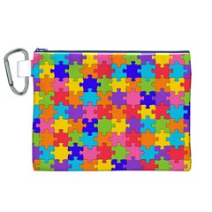 Funny Colorful Jigsaw Puzzle Canvas Cosmetic Bag (xl)  by yoursparklingshop