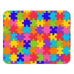 Funny Colorful Jigsaw Puzzle Double Sided Flano Blanket (large)  by yoursparklingshop