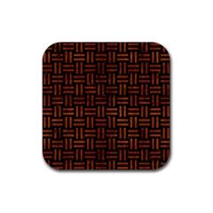 Woven1 Black Marble & Brown Burl Wood Rubber Coaster (square)