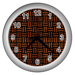 Woven1 Black Marble & Brown Burl Wood Wall Clock (silver)