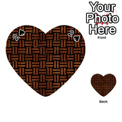 Woven1 Black Marble & Brown Burl Wood Playing Cards 54 (heart)