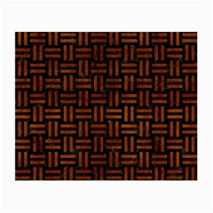 Woven1 Black Marble & Brown Burl Wood Small Glasses Cloth (2 Sides) by trendistuff