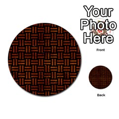 Woven1 Black Marble & Brown Burl Wood Multi Purpose Cards (round)