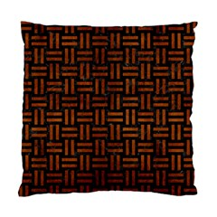 Woven1 Black Marble & Brown Burl Wood Standard Cushion Case (one Side) by trendistuff