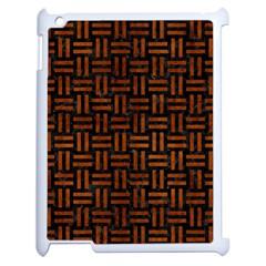Woven1 Black Marble & Brown Burl Wood Apple Ipad 2 Case (white) by trendistuff