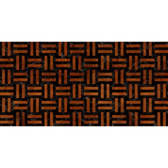 Woven1 Black Marble & Brown Burl Wood You Are Invited 3d Greeting Card (8x4)