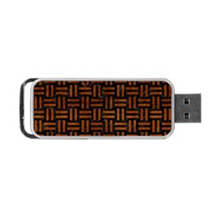 Woven1 Black Marble & Brown Burl Wood Portable Usb Flash (one Side) by trendistuff