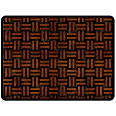 Woven1 Black Marble & Brown Burl Wood Double Sided Fleece Blanket (large) by trendistuff