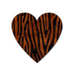 Skin4 Black Marble & Brown Burl Wood (r) Magnet (heart) by trendistuff