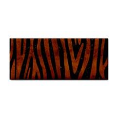 Skin4 Black Marble & Brown Burl Wood (r) Hand Towel by trendistuff