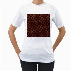 Houndstooth2 Black Marble & Brown Burl Wood Women s T Shirt (white) (two Sided) by trendistuff