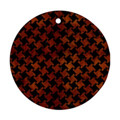 Houndstooth2 Black Marble & Brown Burl Wood Round Ornament (two Sides) by trendistuff