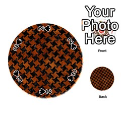 Houndstooth2 Black Marble & Brown Burl Wood Playing Cards 54 (round) by trendistuff