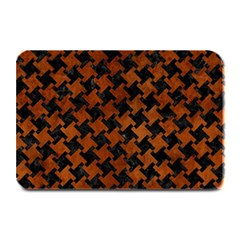 Houndstooth2 Black Marble & Brown Burl Wood Plate Mat by trendistuff