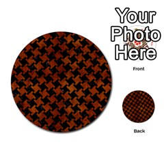 Houndstooth2 Black Marble & Brown Burl Wood Multi Purpose Cards (round) by trendistuff