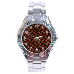 Houndstooth2 Black Marble & Brown Burl Wood Stainless Steel Analogue Watch by trendistuff