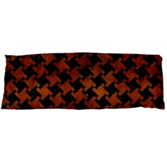 Houndstooth2 Black Marble & Brown Burl Wood Body Pillow Case (dakimakura)